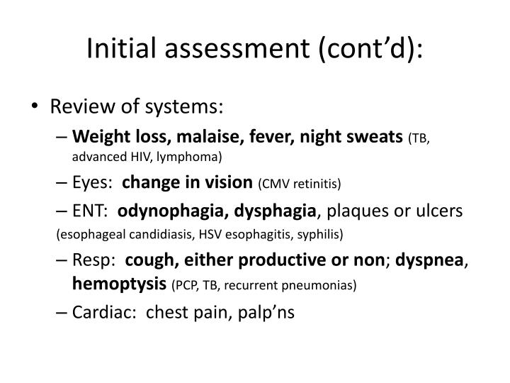 Initial assessment (cont'd):