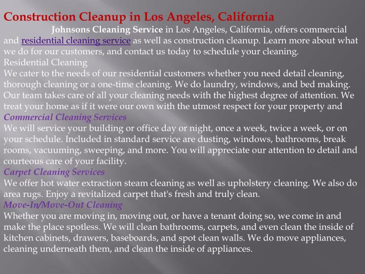 Construction Cleanup in Los Angeles, California