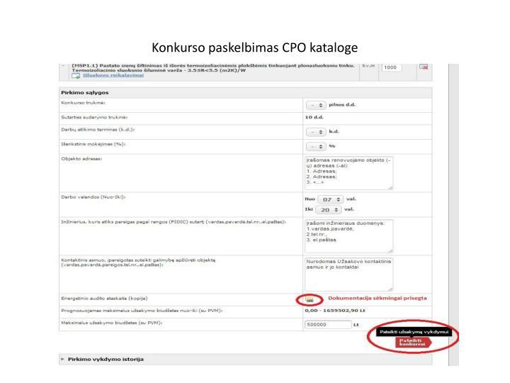 Konkurso paskelbimas CPO kataloge