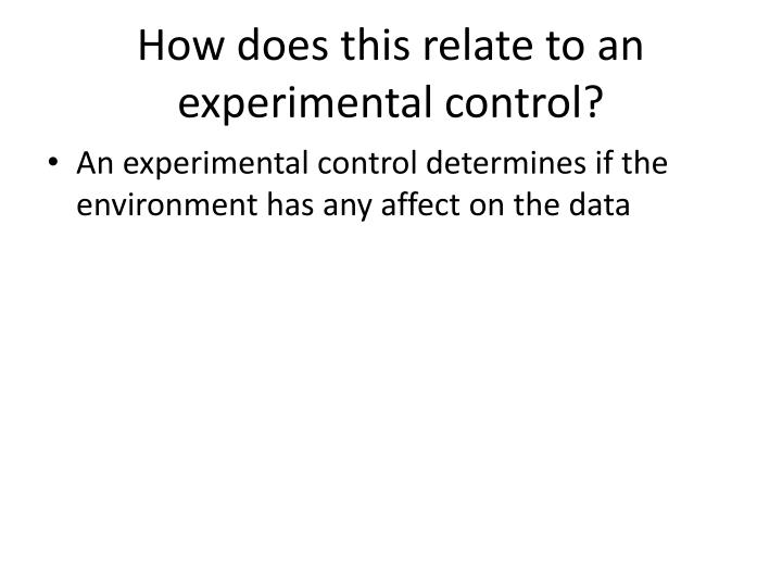 How does this relate to an experimental control?