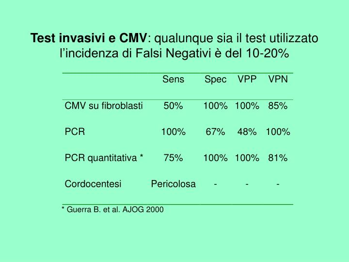 Test invasivi e CMV