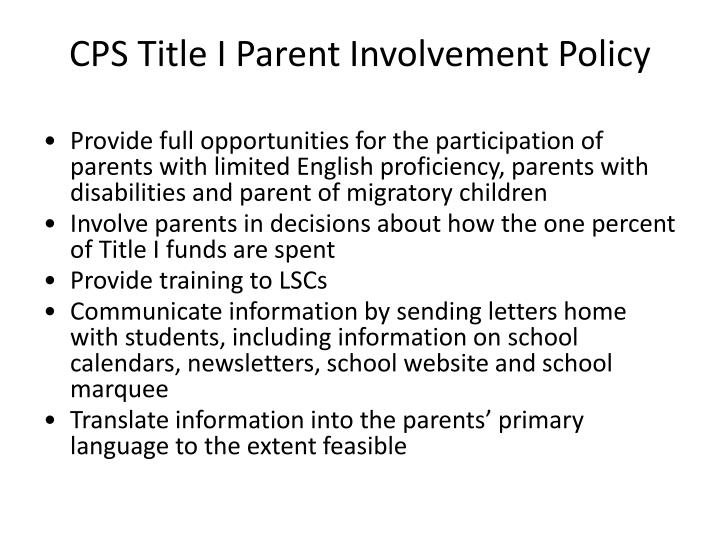 CPS Title I Parent Involvement Policy