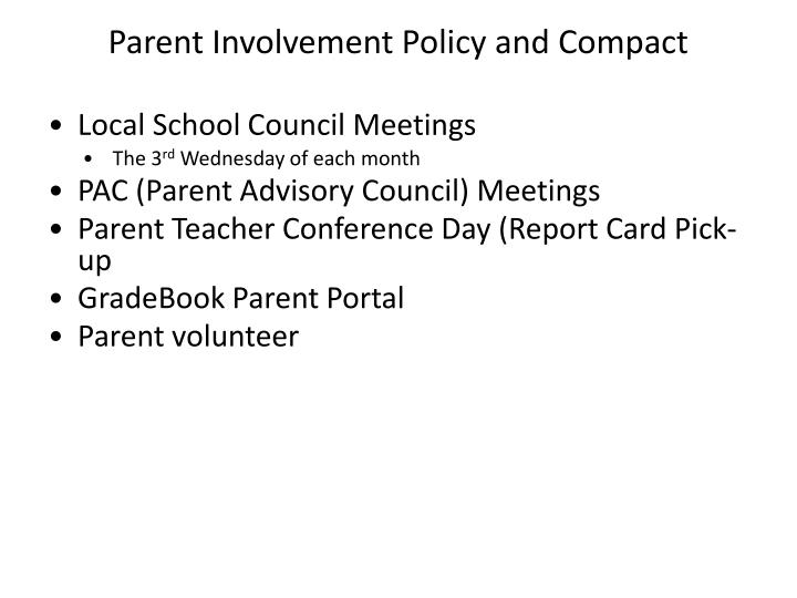 Parent Involvement Policy and Compact