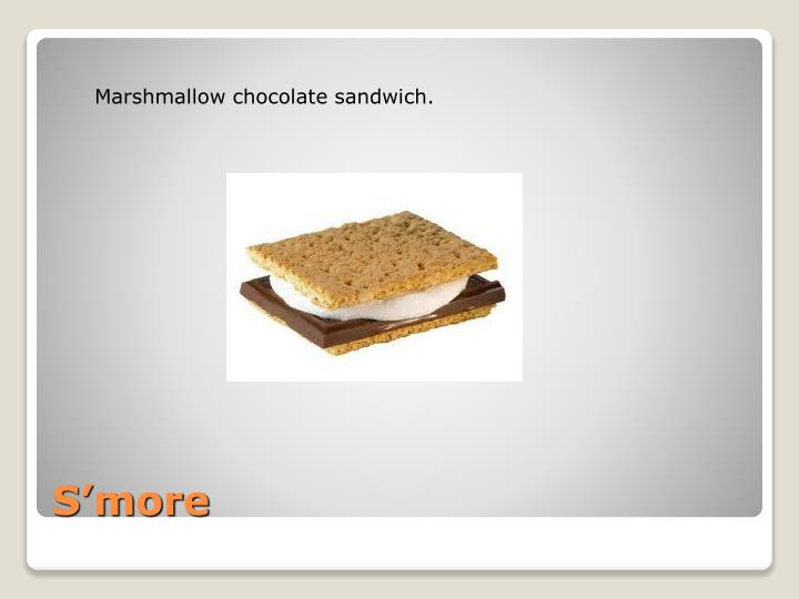 Marshmallow chocolate sandwich.