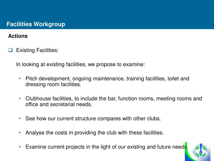 Facilities Workgroup