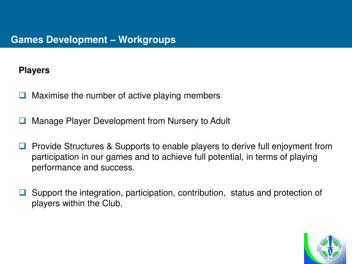 Games Development – Workgroups