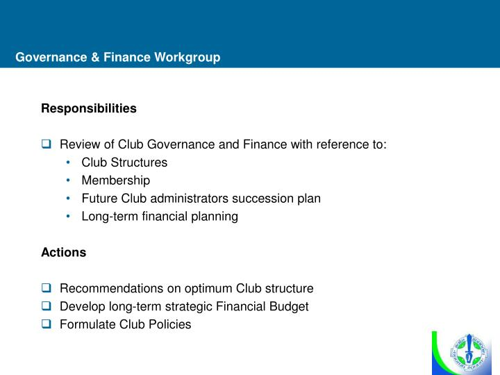 Governance & Finance Workgroup