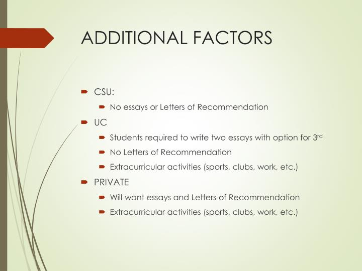 ADDITIONAL FACTORS