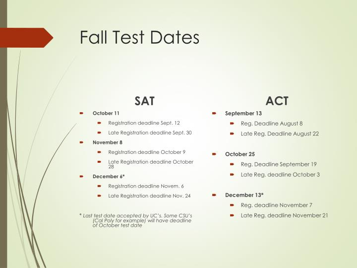 Fall Test Dates