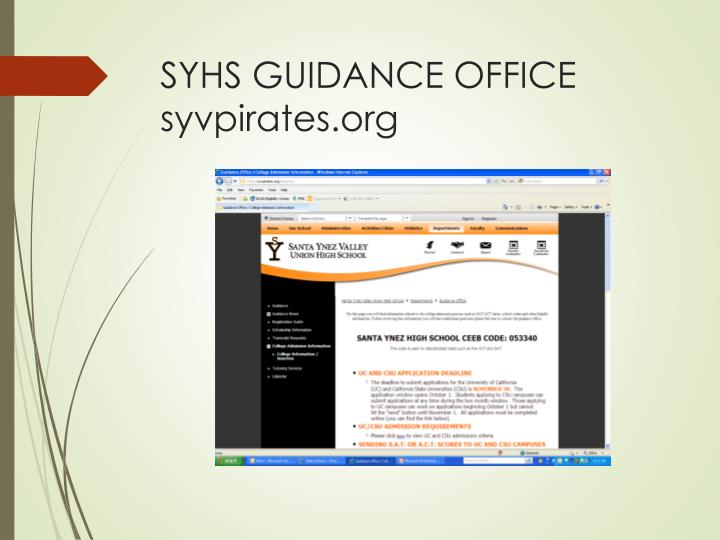 SYHS GUIDANCE OFFICE