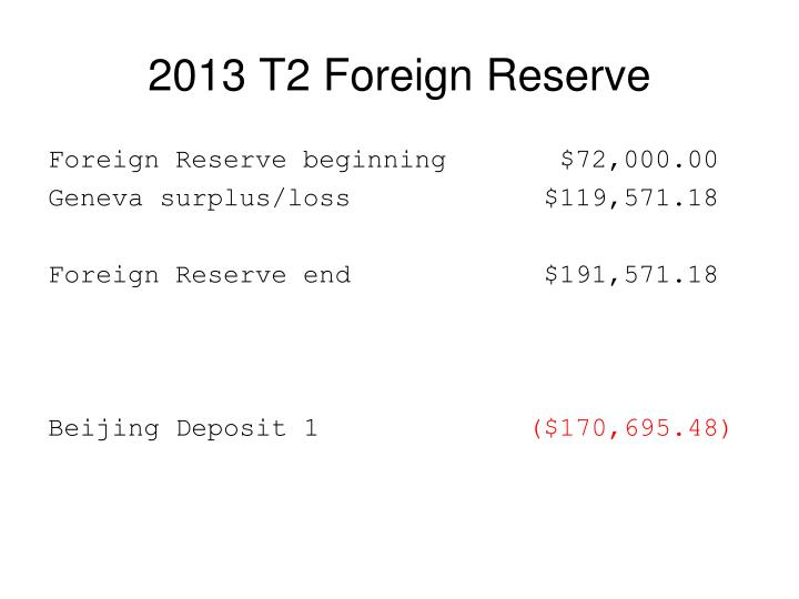 2013 T2 Foreign Reserve
