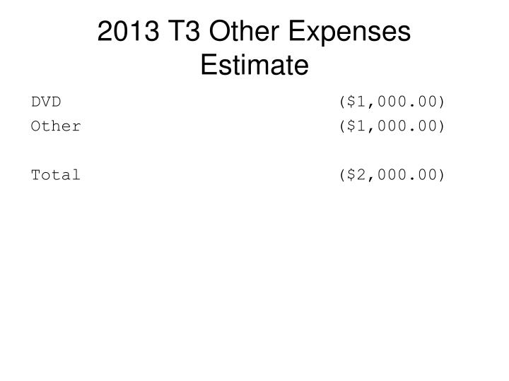2013 T3 Other Expenses