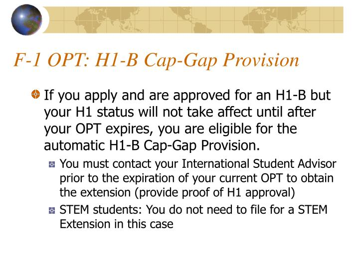 F-1 OPT: H1-B Cap-Gap Provision