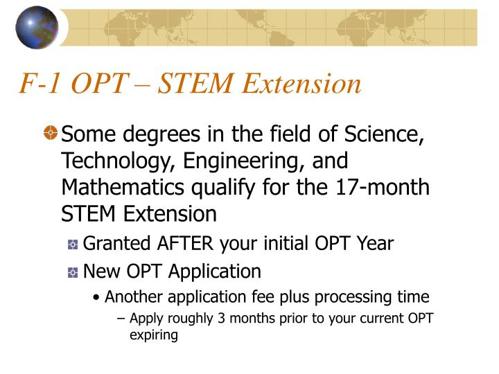 F-1 OPT – STEM Extension