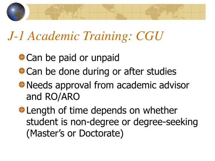 J-1 Academic Training: CGU