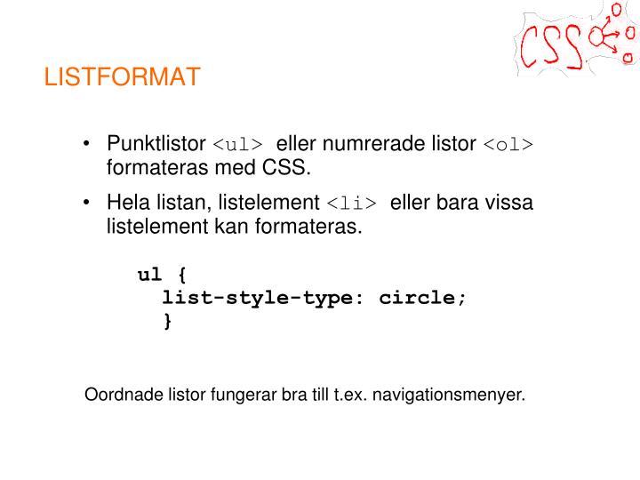 LISTFORMAT