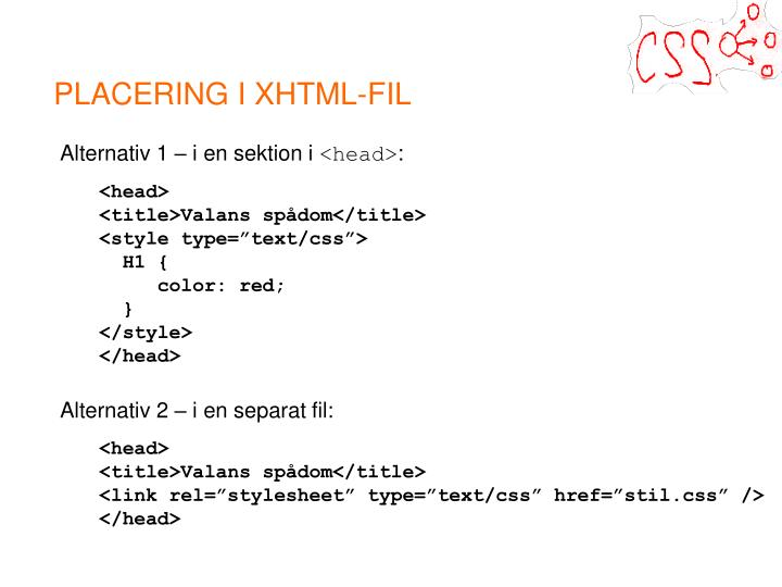 PLACERING I XHTML-FIL