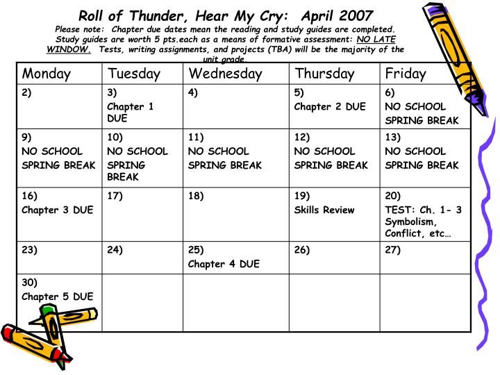 Roll of Thunder, Hear My Cry:  April 2007