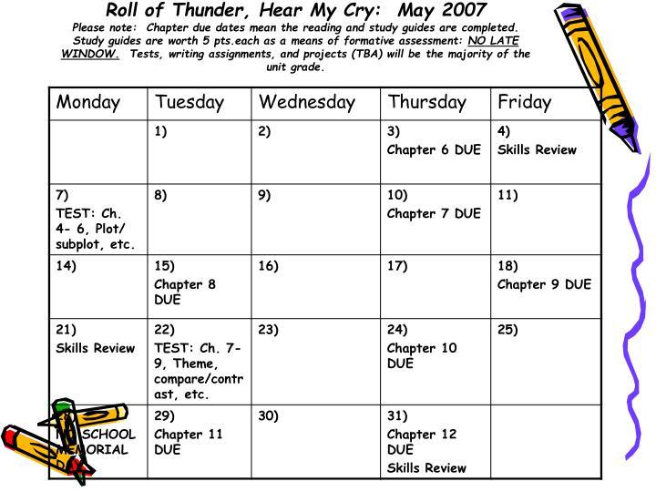 Roll of Thunder, Hear My Cry:  May 2007