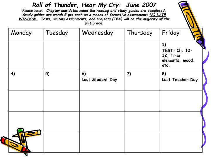 Roll of Thunder, Hear My Cry:  June 2007