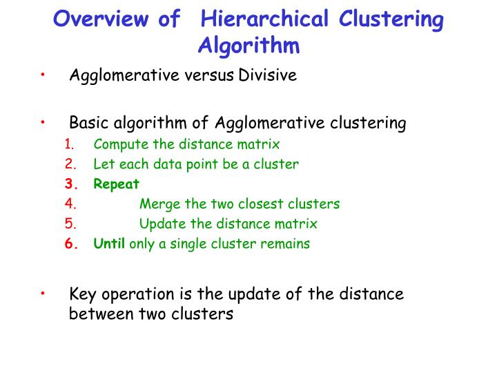 Overview of  Hierarchical Clustering Algorithm