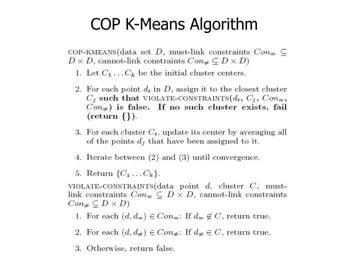 COP K-Means Algorithm