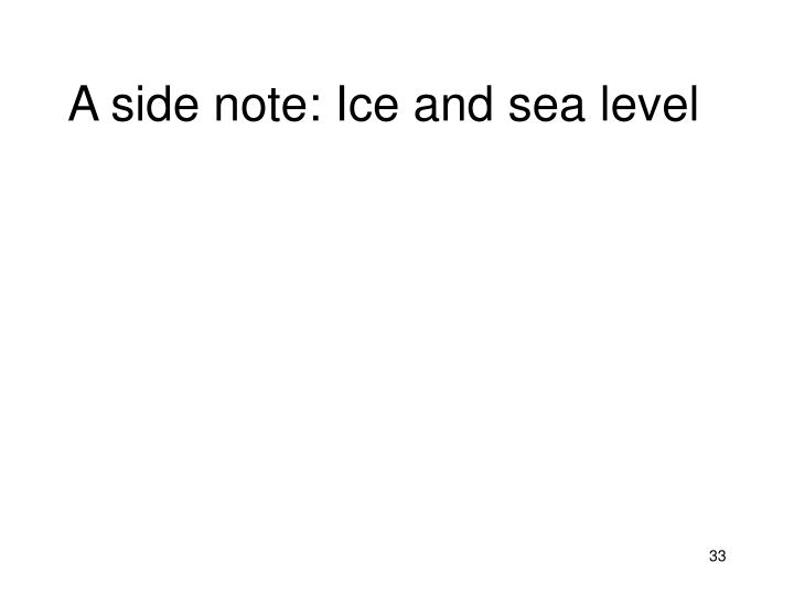 A side note: Ice and sea level
