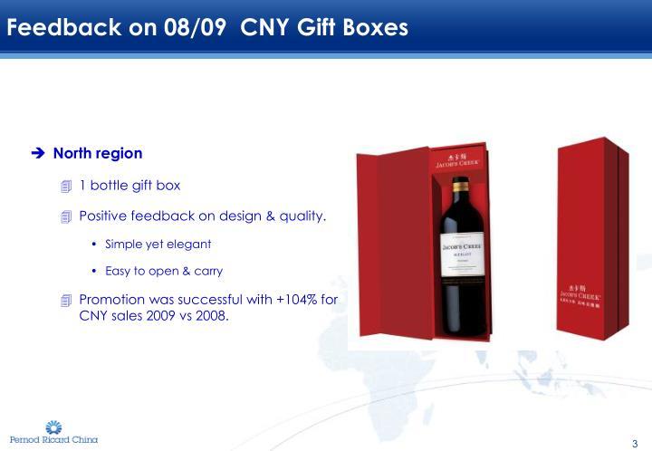 Feedback on 08/09  CNY Gift Boxes