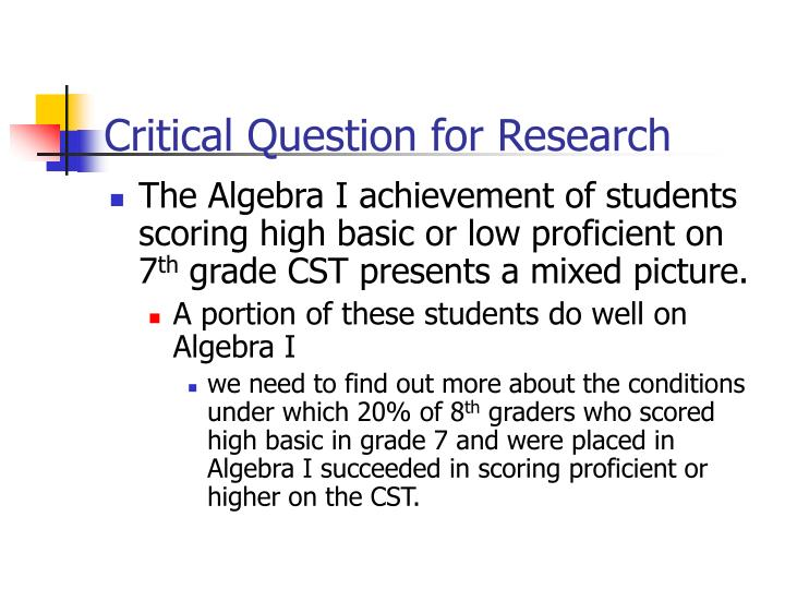 Critical Question for Research