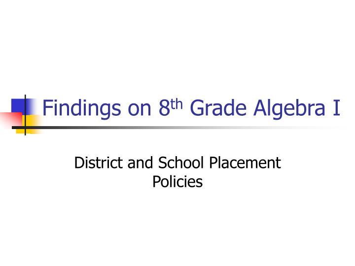 Findings on 8