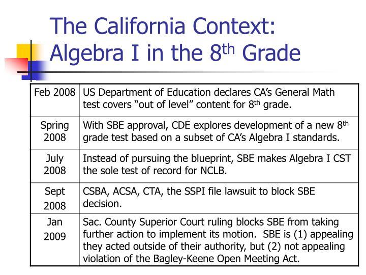 The California Context: