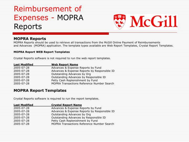 Reimbursement of Expenses -