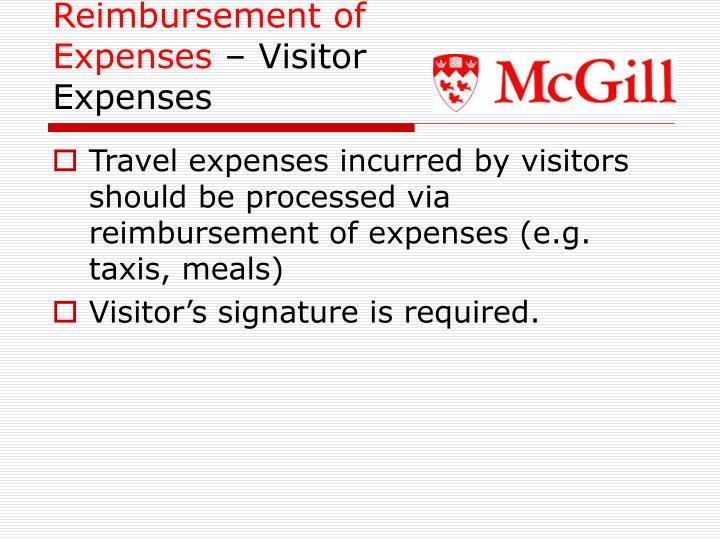 Reimbursement of Expenses