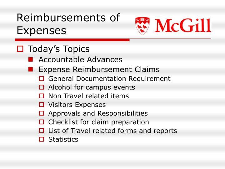 Reimbursements of Expenses