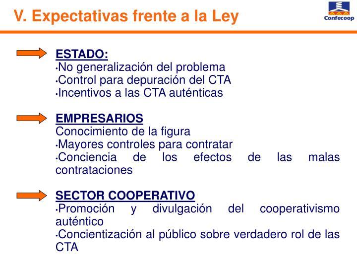 V. Expectativas frente a la Ley