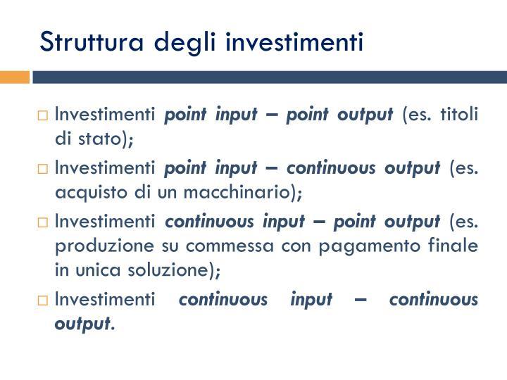 Struttura degli investimenti