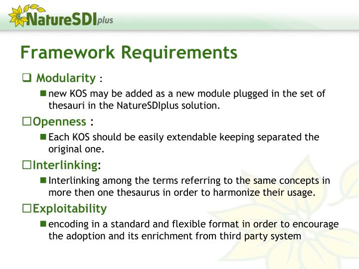 Framework Requirements