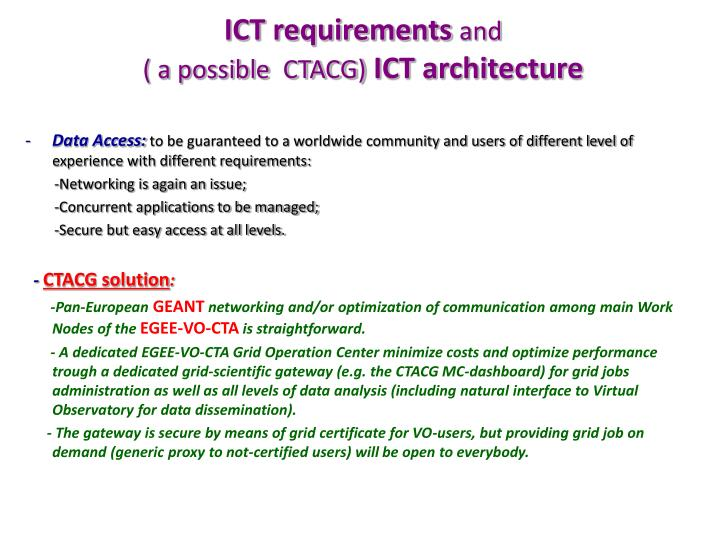 ICT requirements