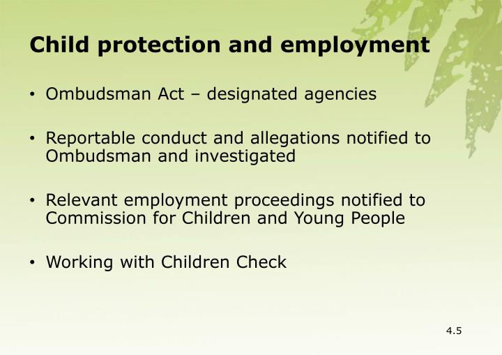 Child protection and employment