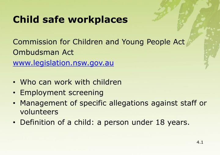 Child safe workplaces