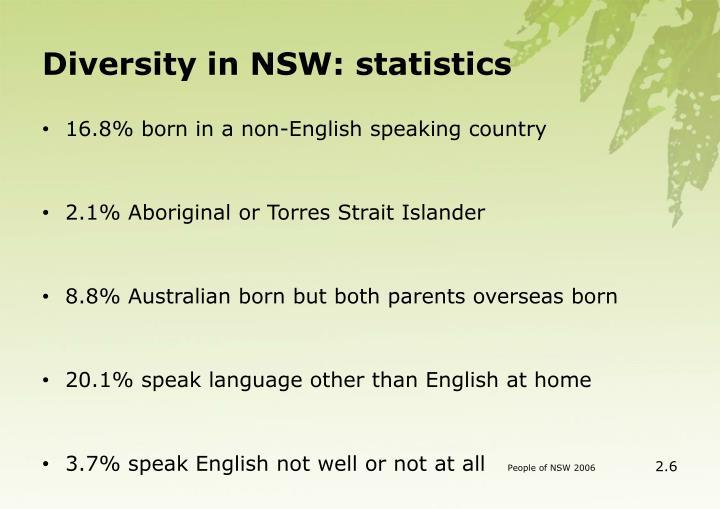 Diversity in NSW: statistics