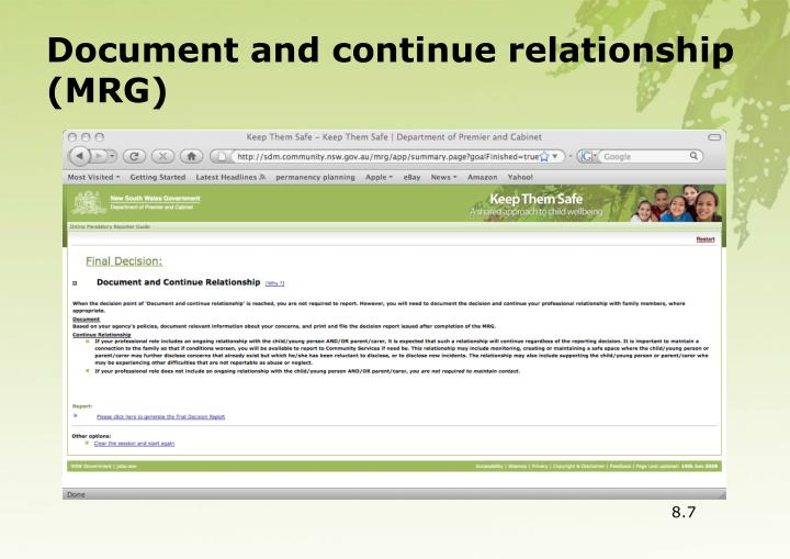 Document and continue relationship (MRG)