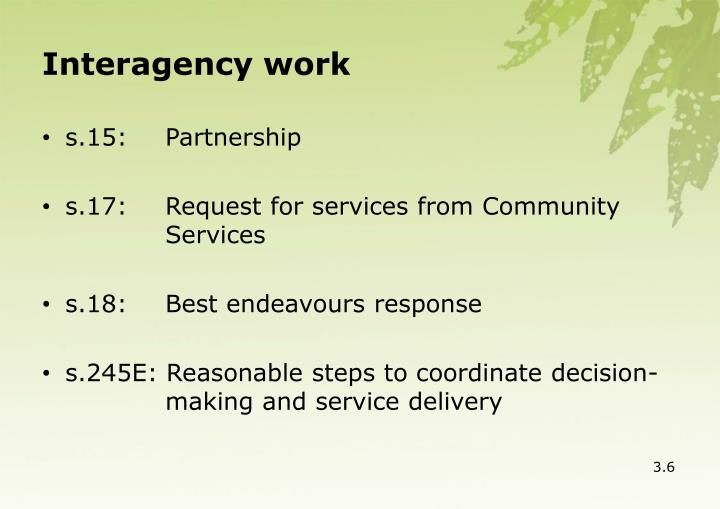 Interagency work