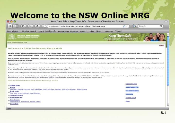 Welcome to the NSW Online MRG