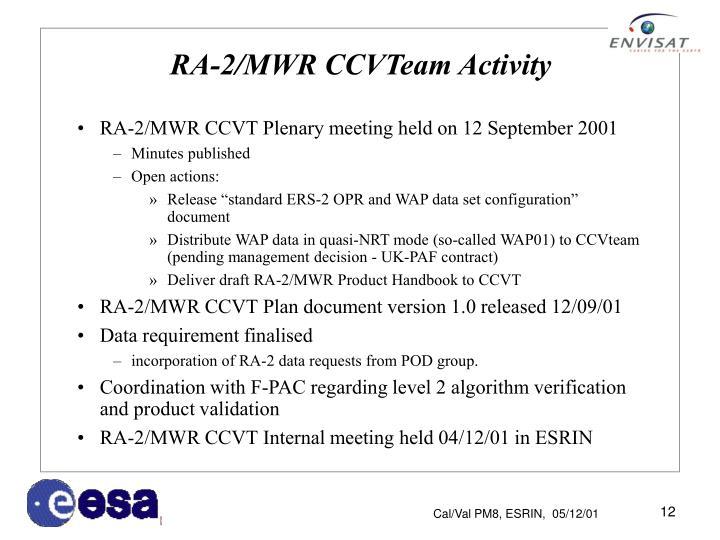 RA-2/MWR CCVTeam Activity