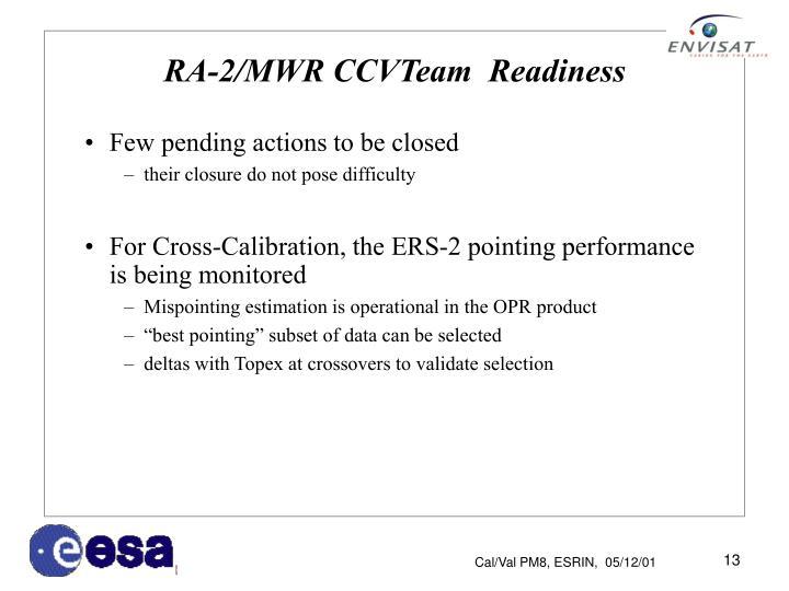 RA-2/MWR CCVTeam  Readiness