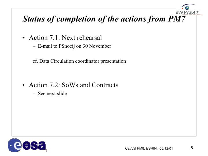 Status of completion of the actions from PM7