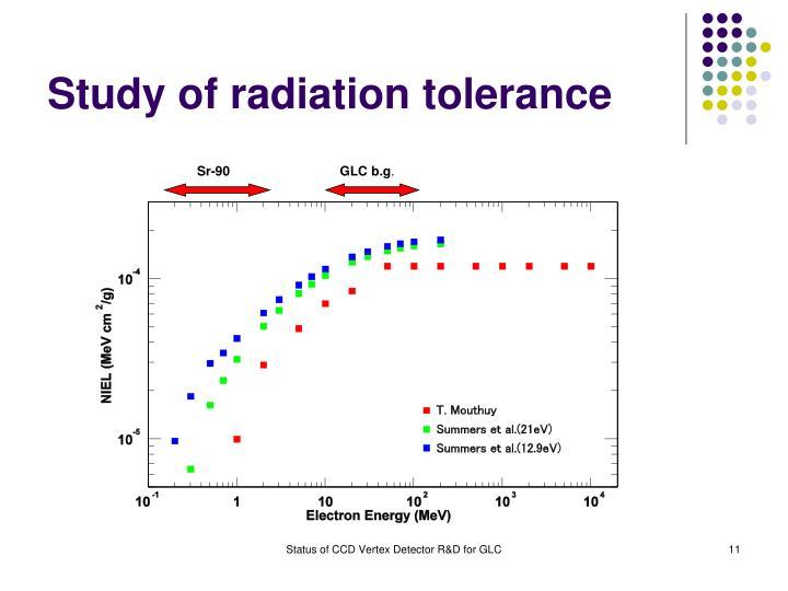 Study of radiation tolerance