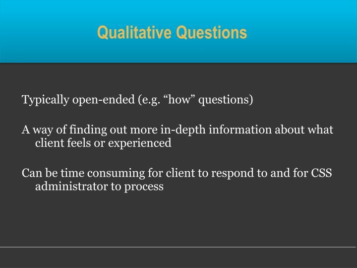 Qualitative Questions