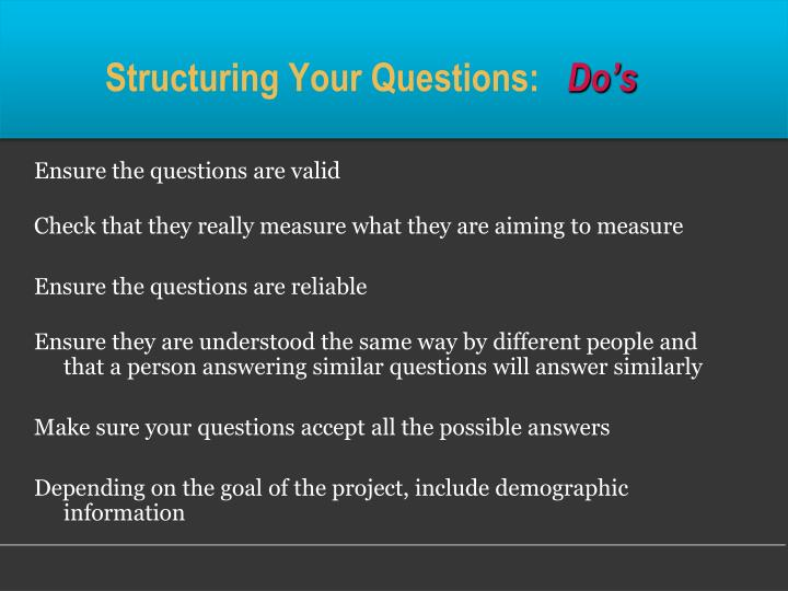 Structuring Your Questions: